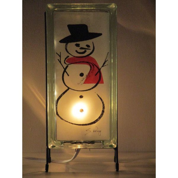SNOWMAN L& glass block night light FREE SHIPPING upcycled handmade... (u20ac58  sc 1 st  Pinterest : lighting snowman - azcodes.com