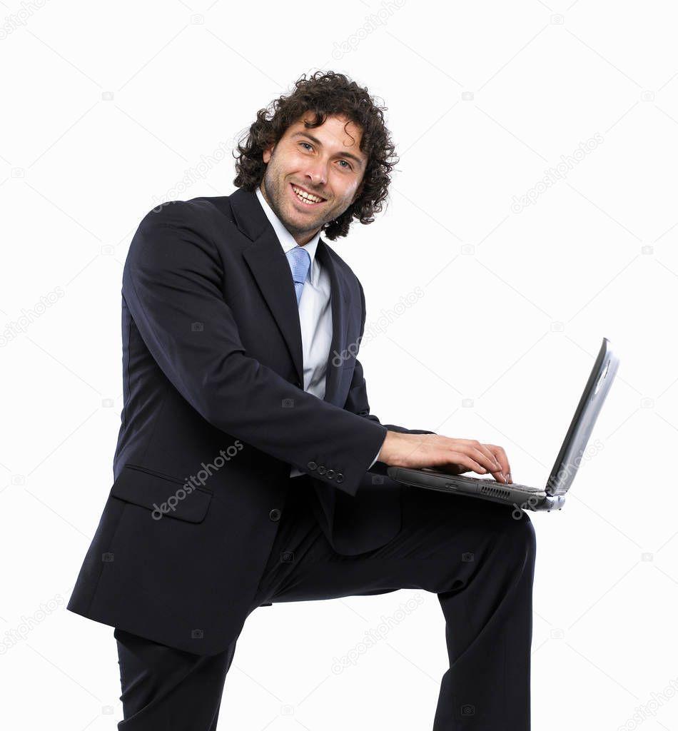 Businessman Holding Laptop Knee Smile Stock Photo Ad Laptop