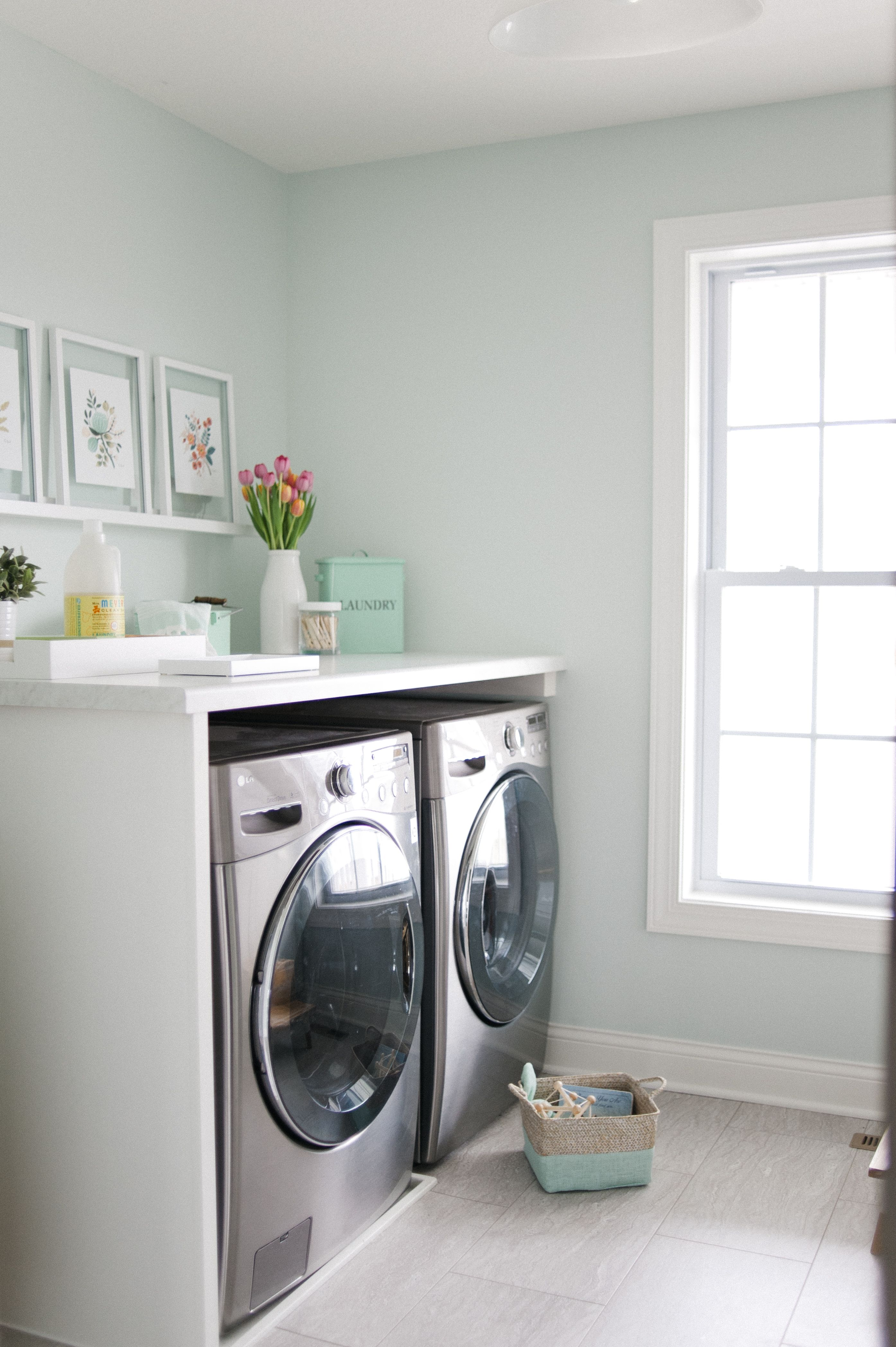 A bright mint and marble laundry room makeover InspiredHome
