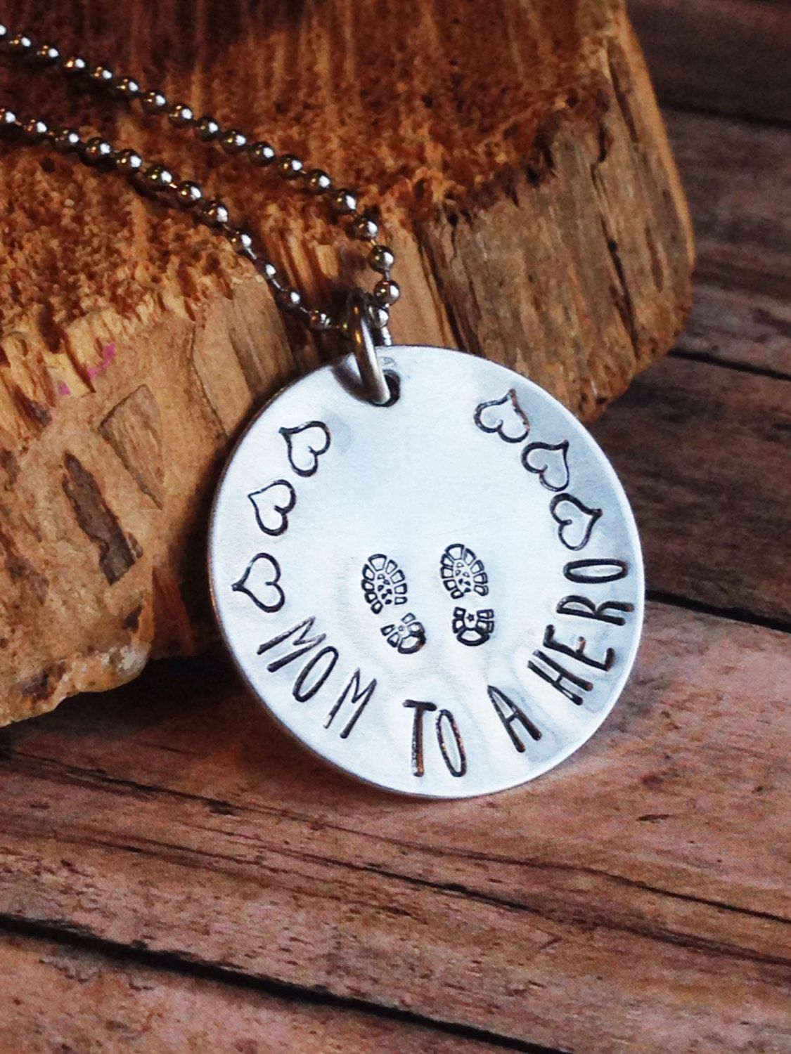 Military Mom Necklace,Hand Stamped Hero Necklace, Combat Boots Jewelry, Soldier, Custom Necklace, Mom to a Hero Jewelry, Hero Necklace - pinned by pin4etsy.com