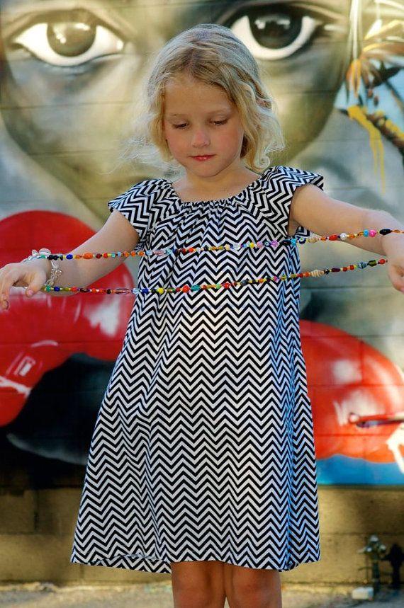 Girls Peasant Dress  . Black and White Chevron . Children's Clothing . Photography by Melanie Marcum