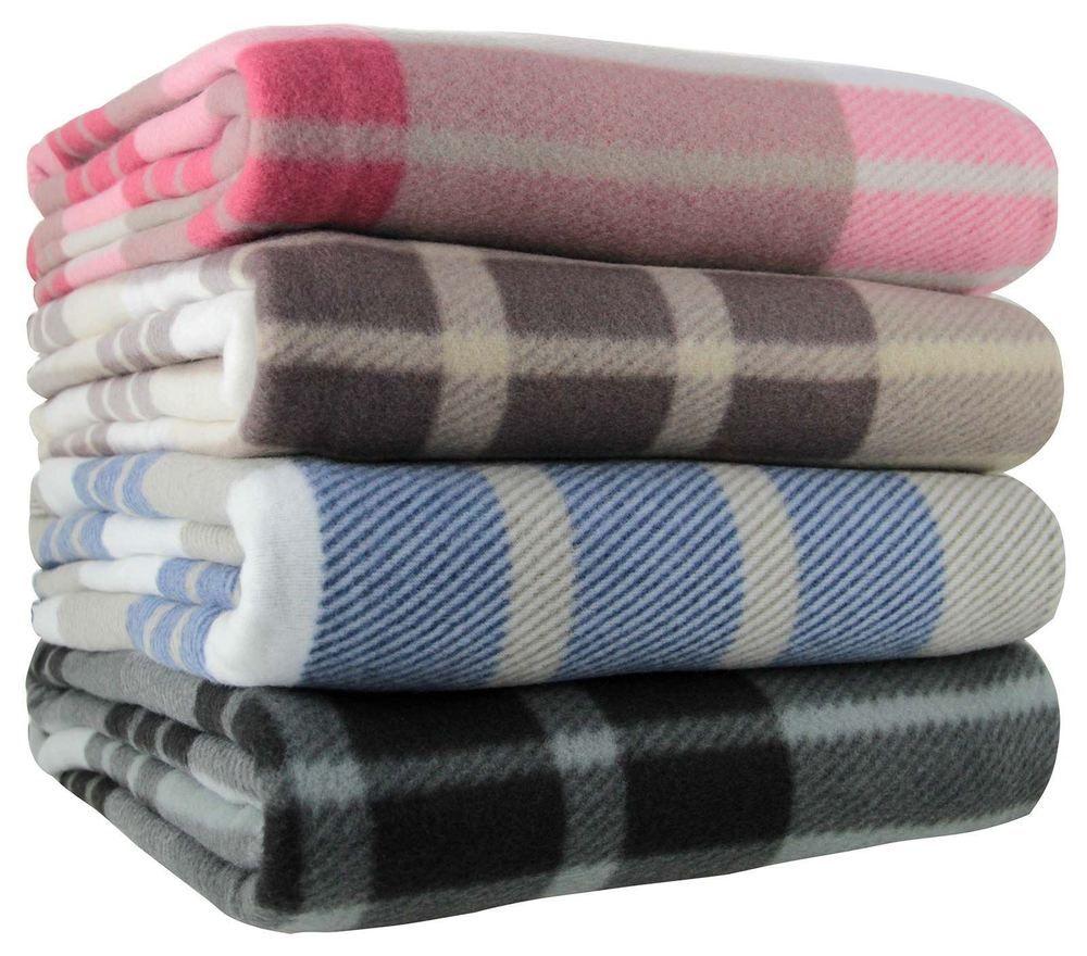 Tartan Check Polar Fleece Throw Blanket
