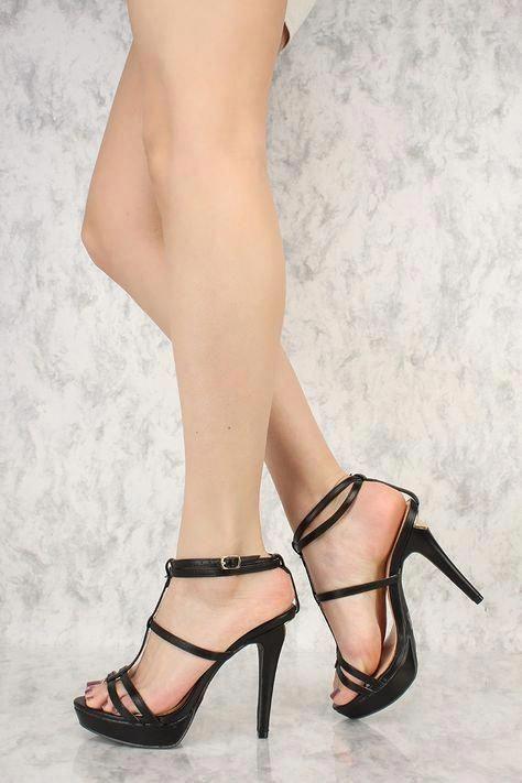 877d55b961867 Black Strappy T-Strap Open Toe Platform Pump High Heels Faux Leather # Platformhighheels #Platformpumps