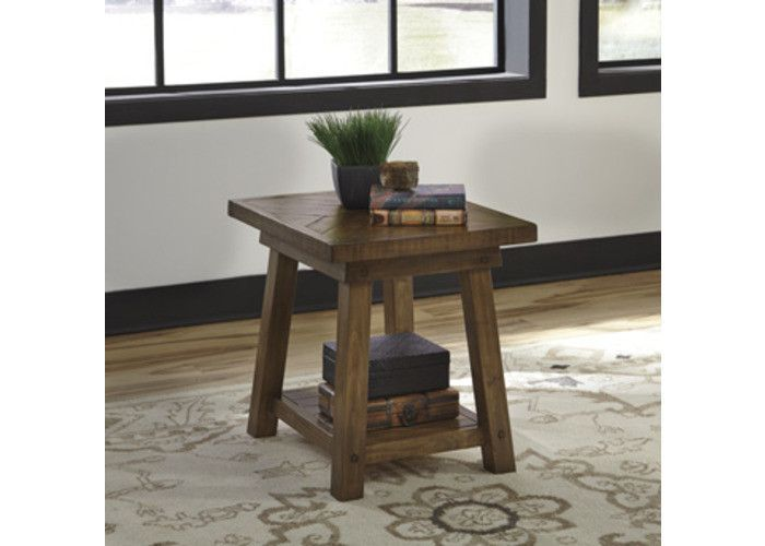 T863-3 Dondie Rectangular End Table - Rustic Brown - Free Shipping!