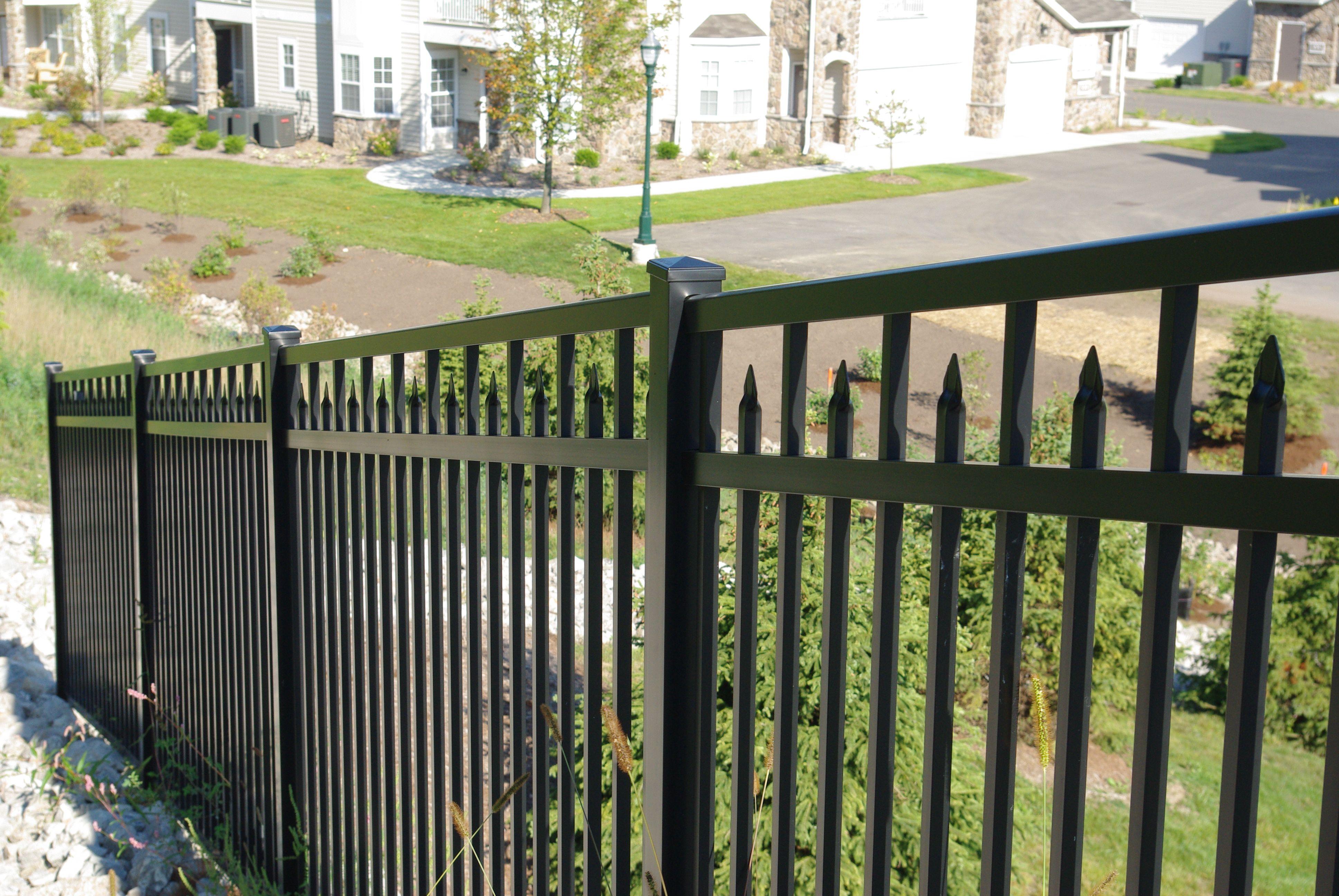 "Black ornamental aluminum 3 rail 54"" high pool fence with 3 4"