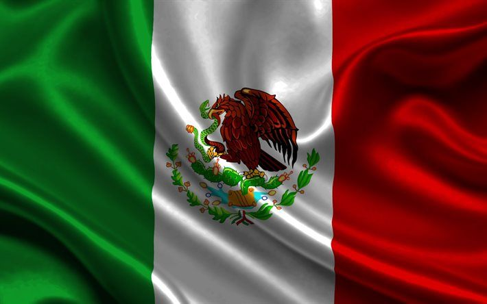 Download wallpapers Mexican flag, 4k, silk, flag of Mexico