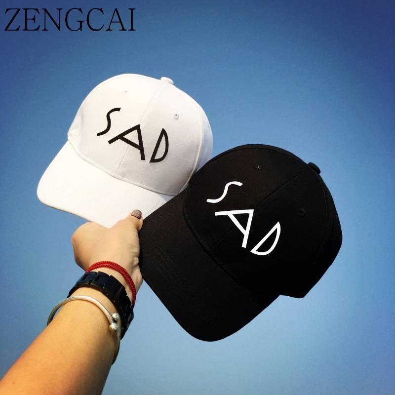 ZENGCAI Cotton Baseball Cap Women Unisex Casual Snapback Hats & Caps For Men Casquette Homme SAD Letter Embroidery Bone Gorras