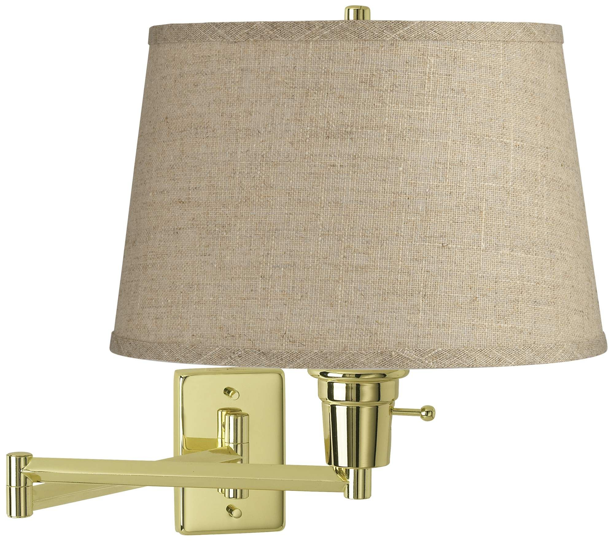 Wall Lamps Burlap Drum Shade Polished Brass Plug In Swing Arm Wall Lamp In 2020 Swing Arm Wall Lamps Wall Lamp Drum Shade