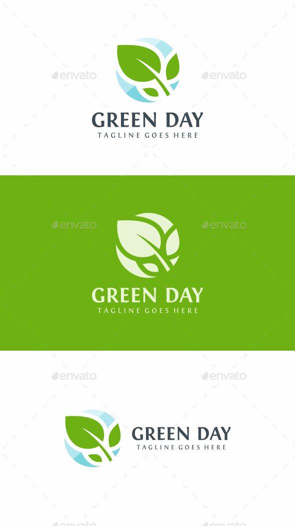 Green Leaf Logo Nature Logo Templates Desain Logo Desain
