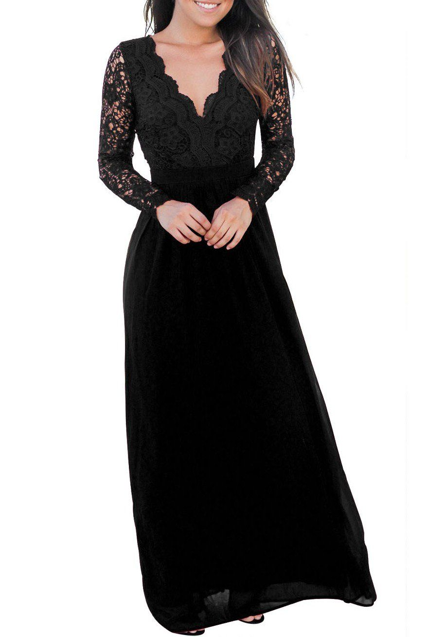 Black open back long sleeve lace maxi party dress lace maxi