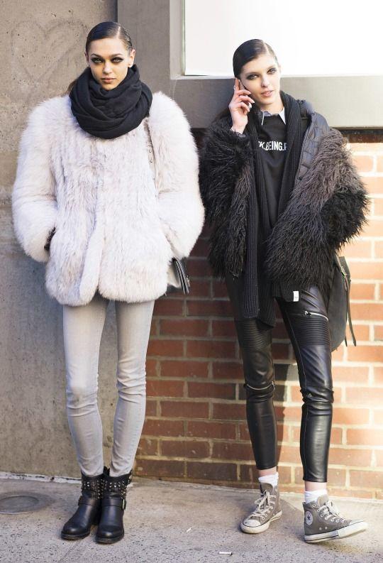 Zhenya Katava and Anastasia Lagune outside Cushnie et Ochs Fall 2015, New York Fashion Week.