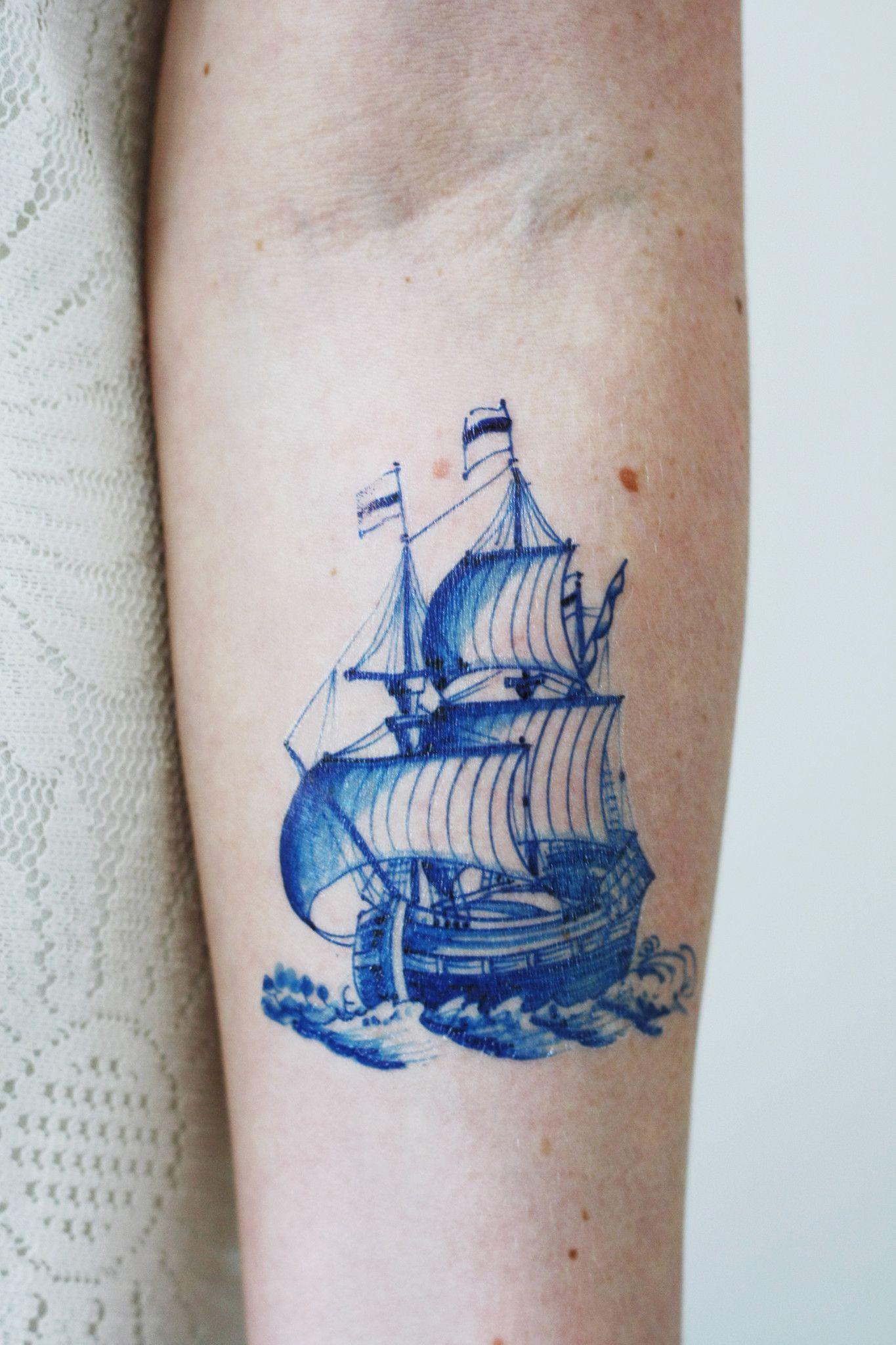Delft Blue Ship Tattoo Art Inspirations Elegant Tattoos