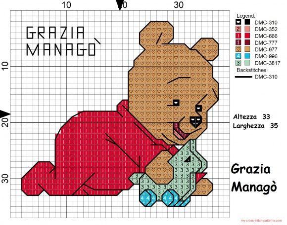 Baby winnie the pooh per bavaglino click to view punto for Winnie the pooh punto croce schemi