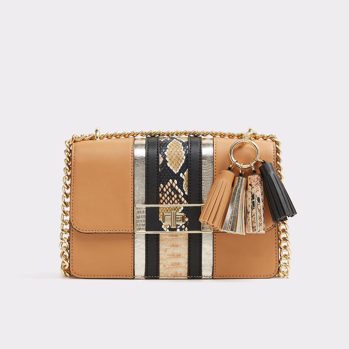 6a953492837 Borgotaro Racer stripes and faux snakeskin unite for an eclectic touch on a  classically structured handbag. Chain strap and gold turn-lock closureadd  even ...