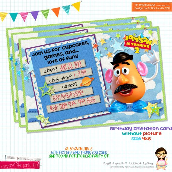 Toy Story Birthday Mr Potato Head Birthday by EZPARTYKITS 800 – Mr Potato Head Birthday Card