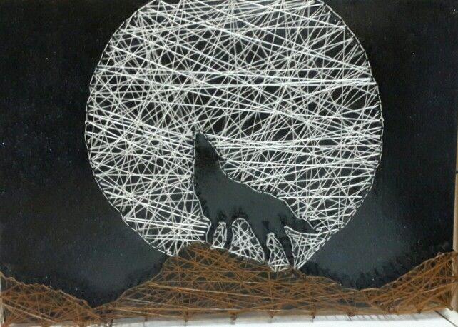 string art wolf manualidades pinterest ficelle art filaire et fil tendu. Black Bedroom Furniture Sets. Home Design Ideas