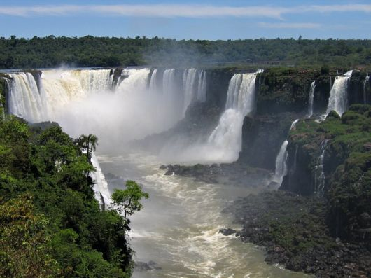 Iguazu waterfall of the Iguazu River - Located on the border of Brazil, Paraquay and Argentina.