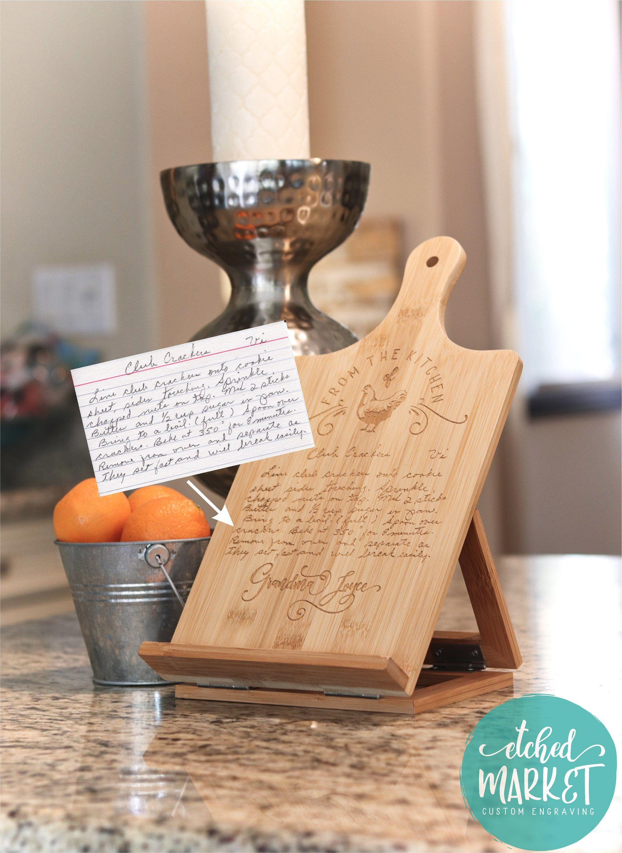 Handwritten Recipe Engraved Kitchen Stand Personalized Cookbook Ipad Tablet Holder Memorial Gift Gran Personalized Cookbooks Cook Book Stand Cookbook Holder