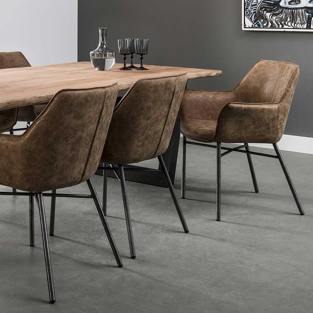 Stahl Loft Style2er Esstischsessel In Jameson Braun Kunstleder Im SVpqMGUz