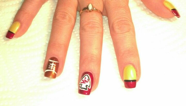 Kansas City Chiefs Nail Art Chiefs Season Pinterest Kansas