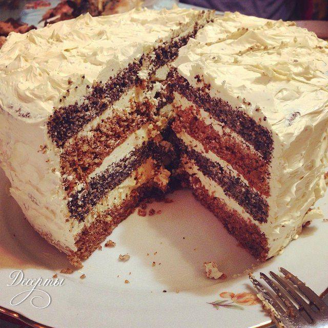 Орехово-маковый торт с кофе