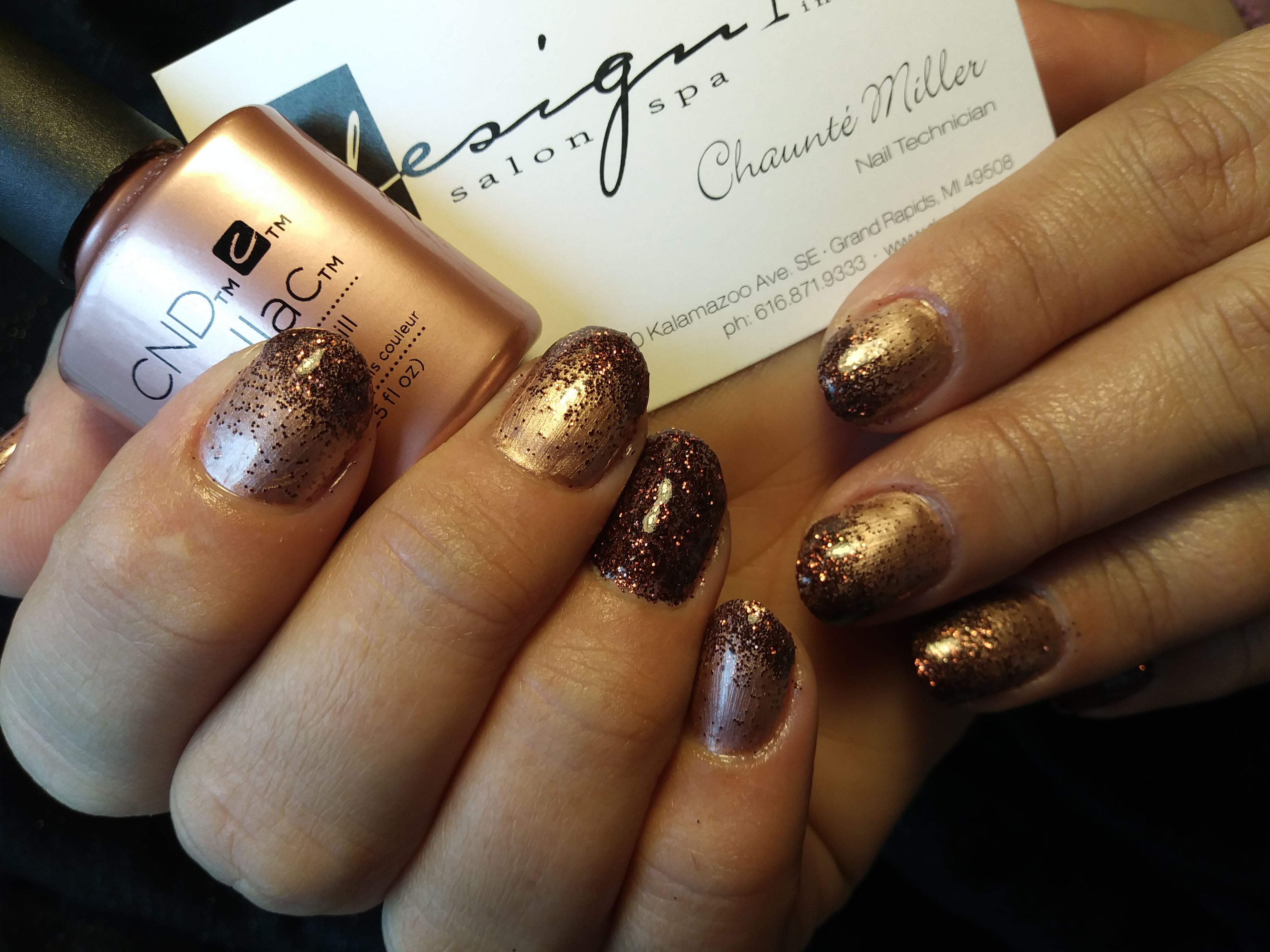 Chaunte Of Our Gaines Location Is Ringing In The New Year With Rose Gold And Glitter 2018 Design1salonspa Caledonia Gaines Nail Spa Best Day Spa Spa Salon