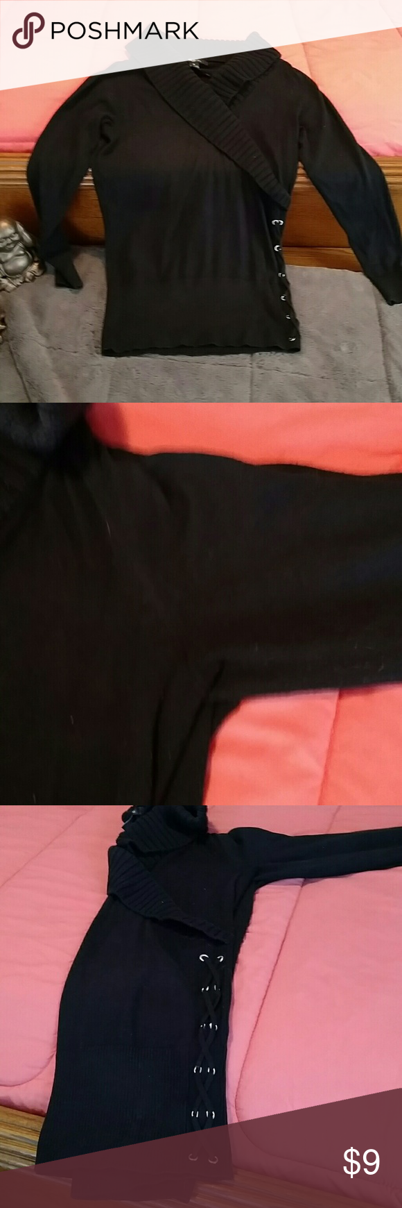 Black sweater with lacing detail on the side | Lace detail ...