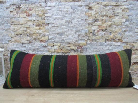 Gorgeous faded color turkey striped design kilim pillow 12x36 floor pillow decorative bohemian pillow aztec pillow turkish code 260  gorgeous faded color turkey striped d...