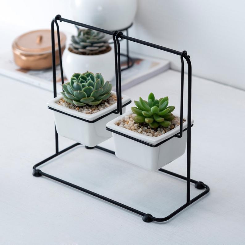 3 Legs Desktop Planter Pot Round Bonsai Vase Flower Stand Modern Home Decoration