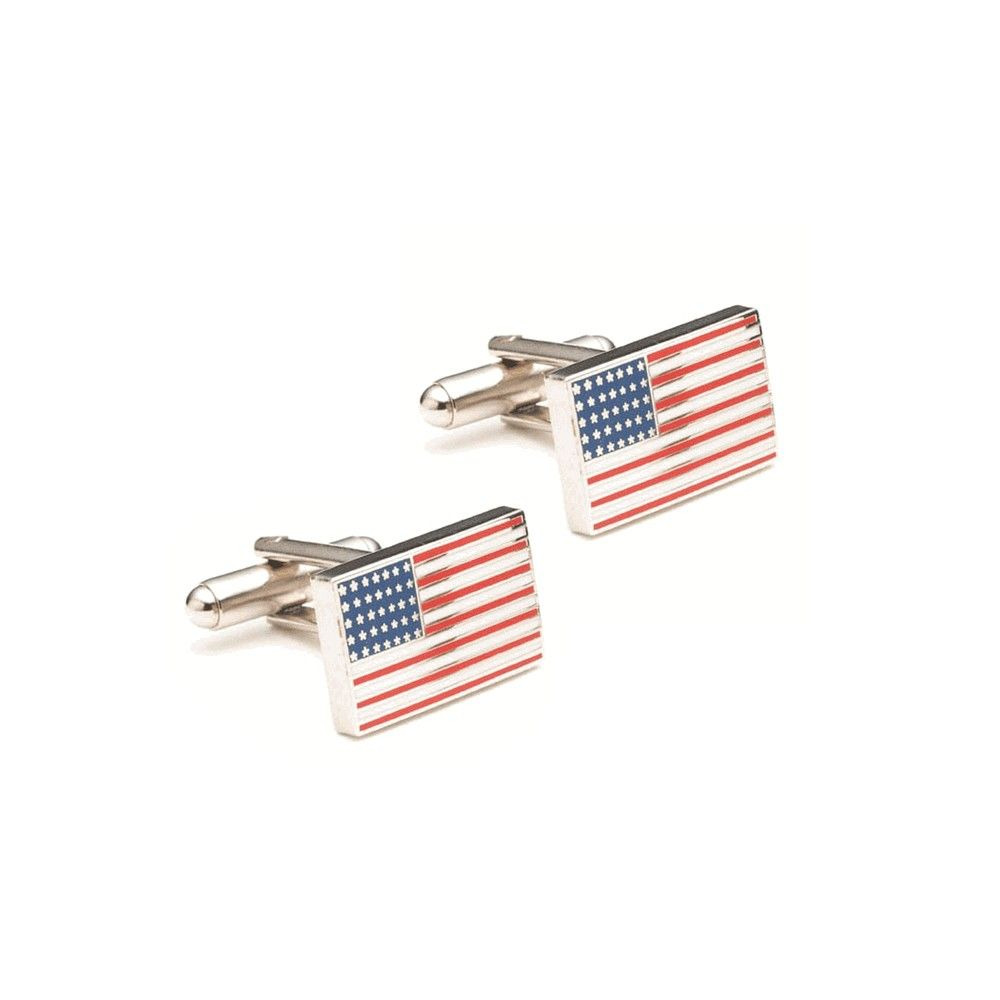 American Flag Cufflinks Enamel And Silverplate Over Nickel Cufflinks American Flag