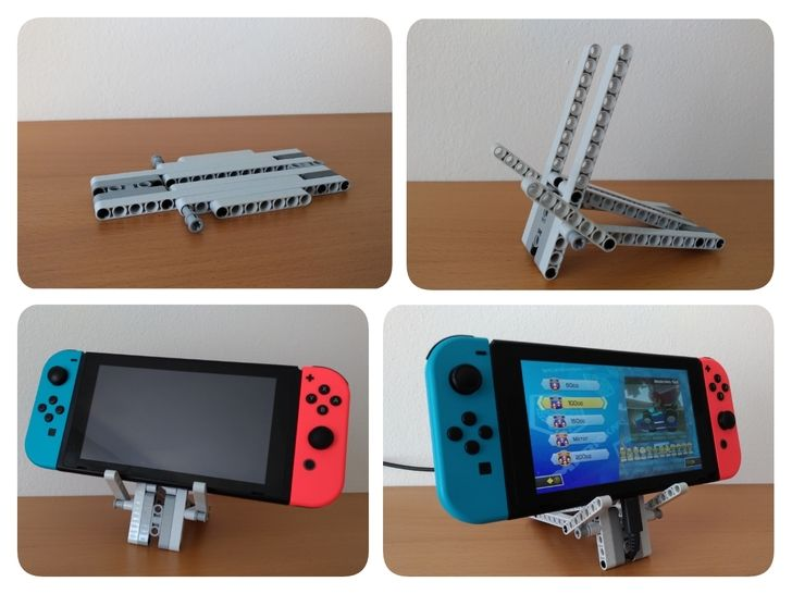 Folding Lego Stand For Nintendo Switch Supporting A Charger Lego Legos Lego Projects