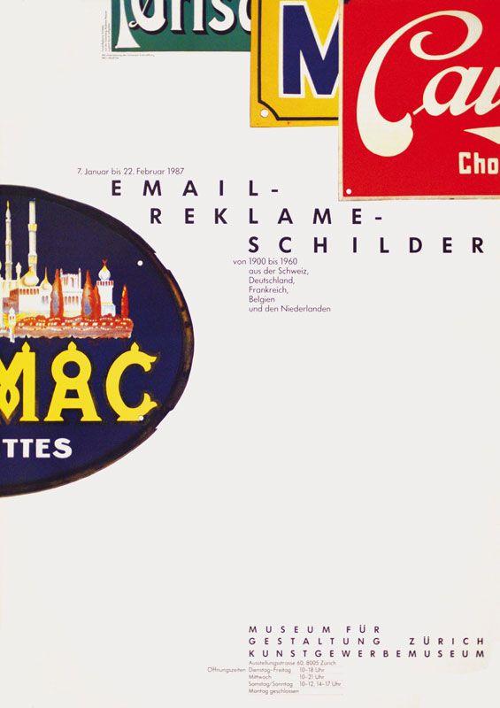 Rosmarie Tissi, Email-Reklame-Schilder, Museum für Gestaltung Zürich