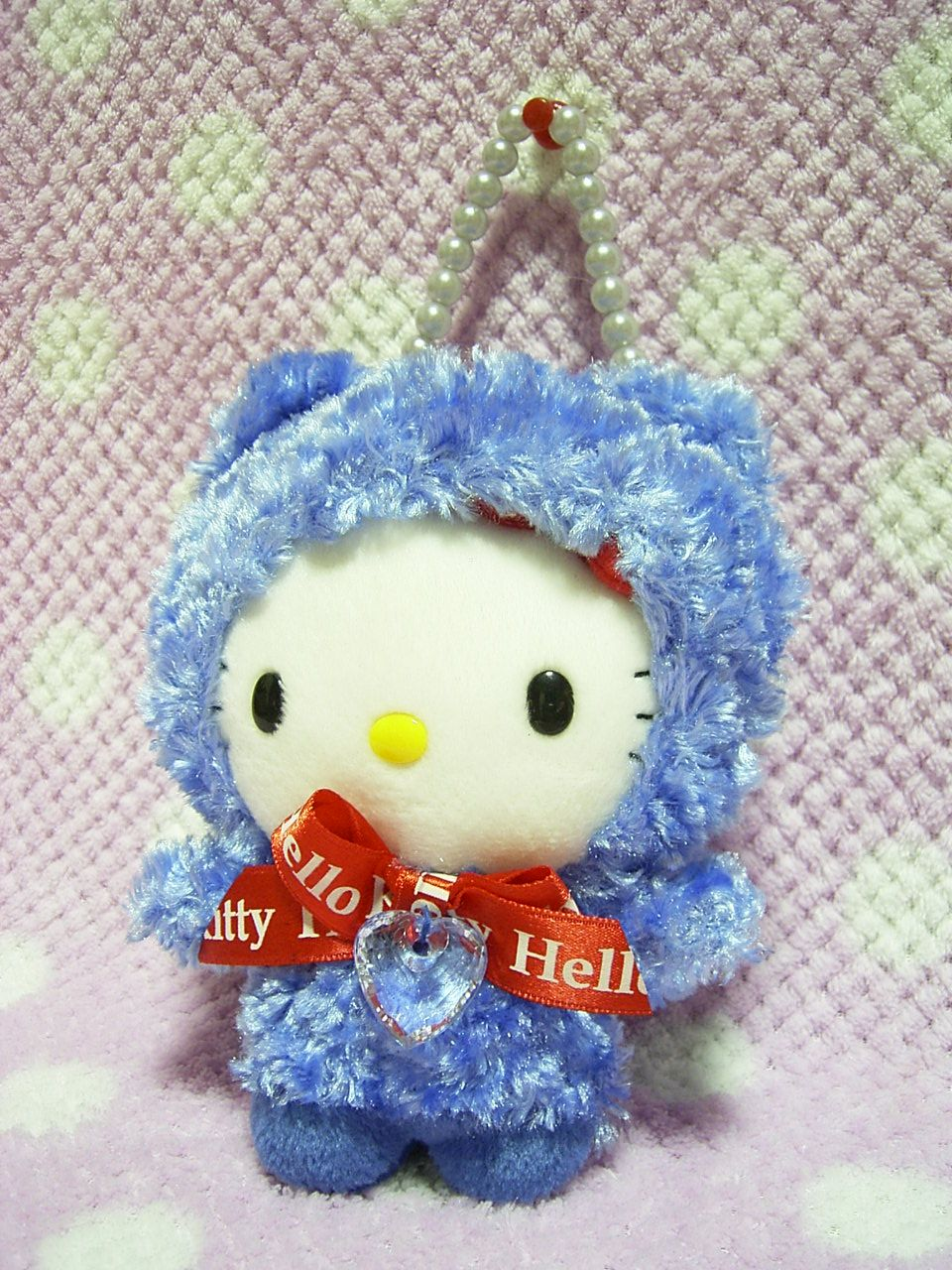 """Sanrio Japan Bear HELLO KITTY CUTE Purse Bag Pouch w/ Lucky Heart Stone 2004 Blue : *Condition* Unused, Released in 2004, Sanrio Japan Licensed! *Size* About 5.9"""" (15cm) in height. 29.99-38.99 (5.90/6.90/8.90)"""