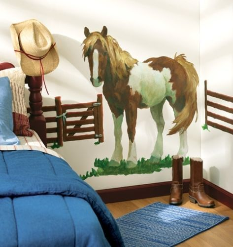 WALLIES PONY with FENCES wall stickers MURAL 4 decals horse farm corral animal