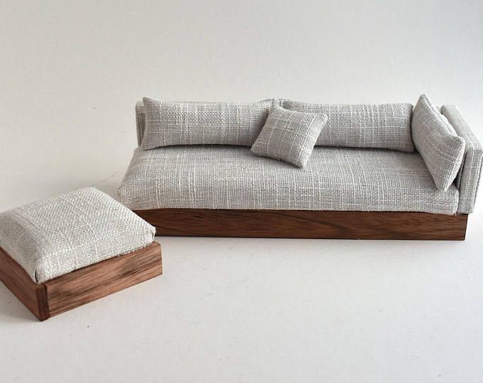 Sofa Couch Chaise Modern Miniatures 1 12 Scale Dolls House White Grey Textured Woven Lounge Sui With Images Diy Barbie Furniture Diy Dollhouse Furniture Barbie Furniture