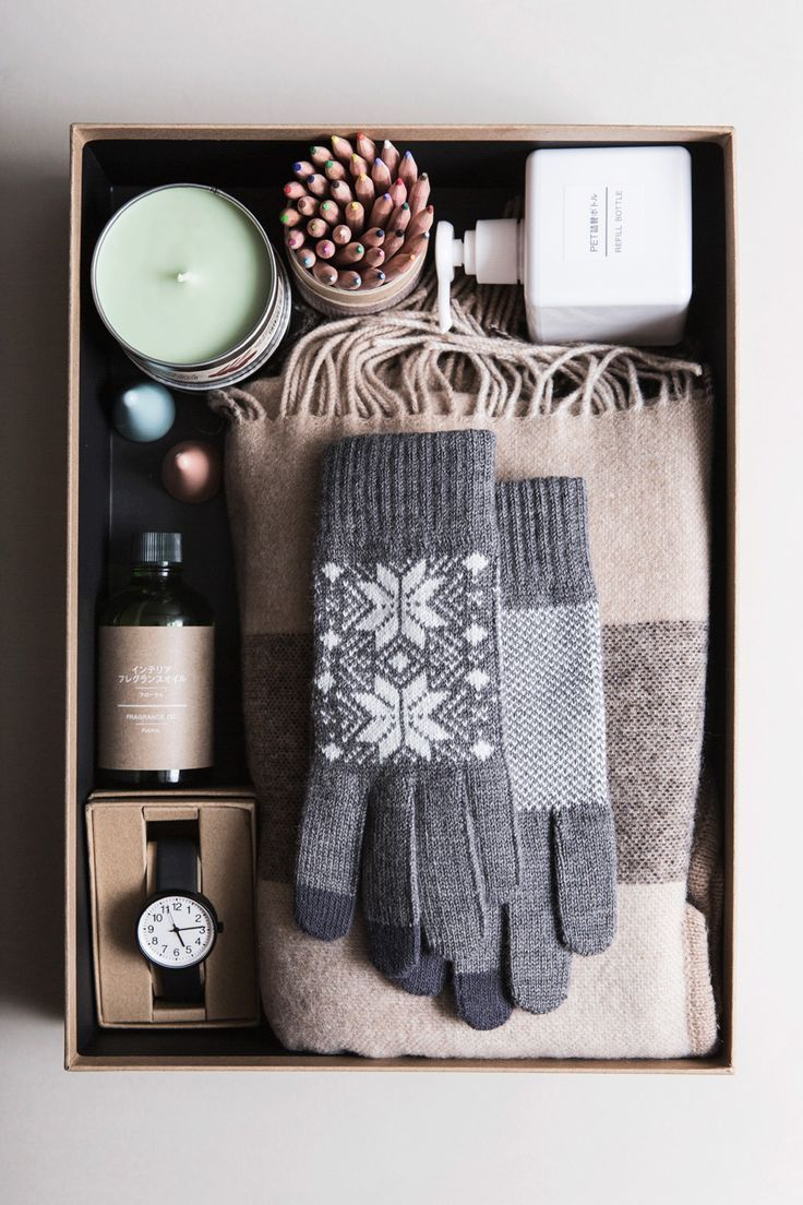 Gift Box For Him With All The Essentials Such As Scarf, Mittens, Candle,