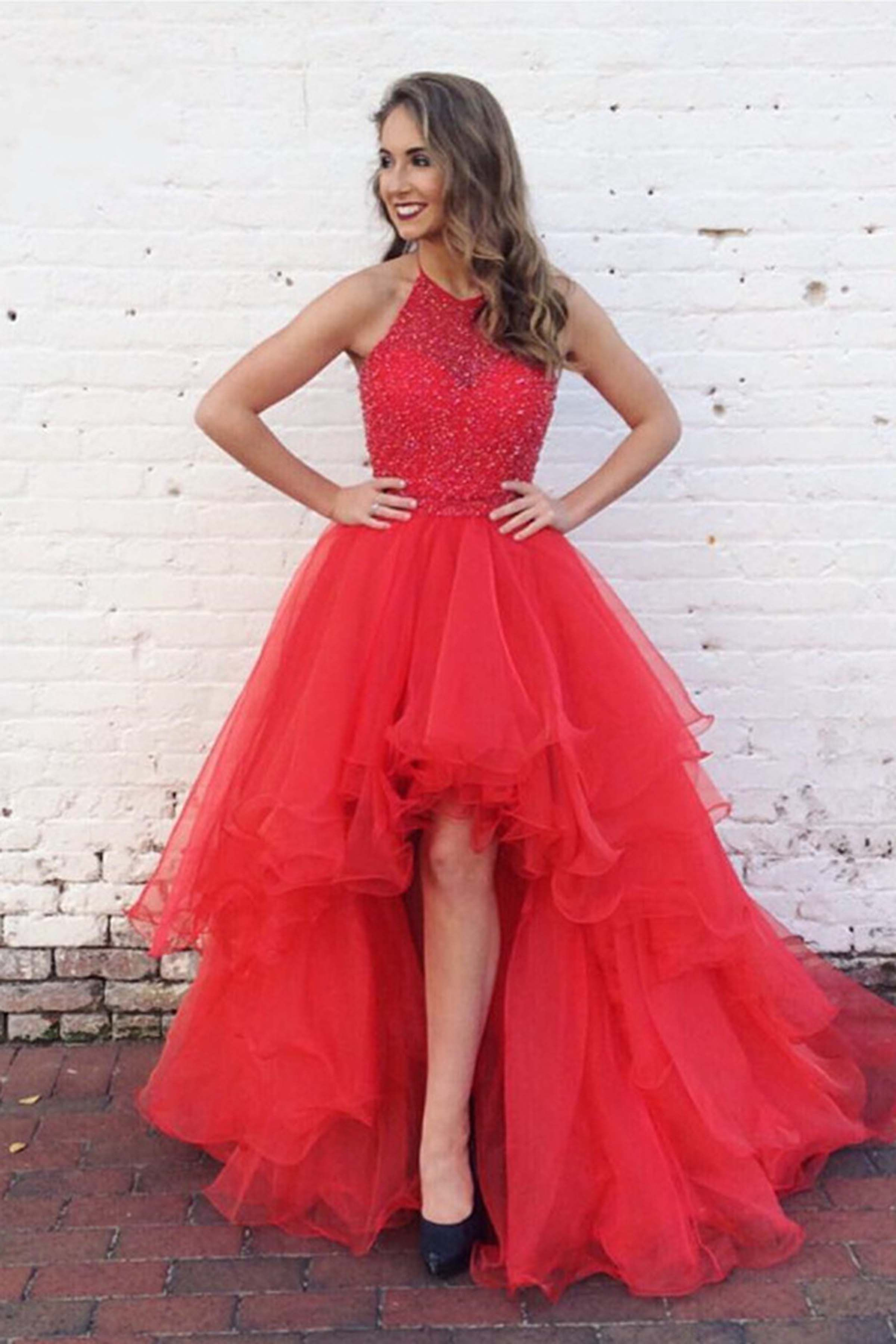 hot pink organza prom dress ball gown high low dress for