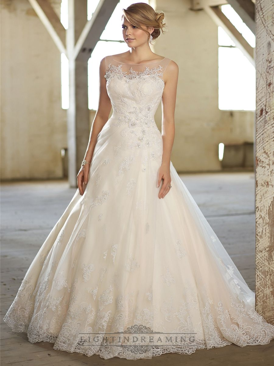 Stunning A-line Illusion Neckline & Back Lace Wedding Dresses ...