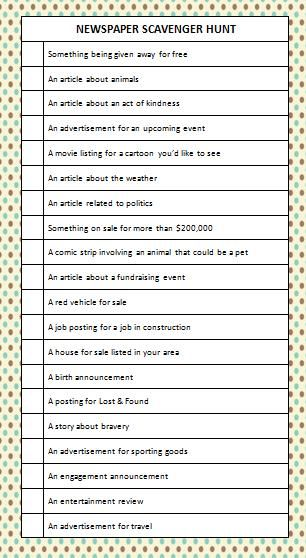 newspaper-scavenger-hunt  Perfect for research skills! Could fit in nicely with Common Core.