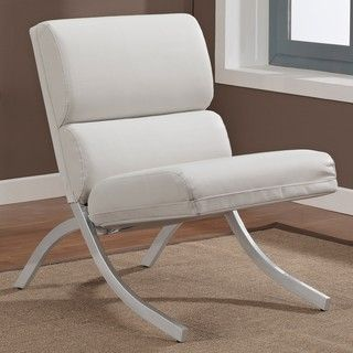 Incroyable ... Finish: Brushed Silver Upholstery Materials: Bonded  Leatherhttp://www.overstock.com/Home Garden/Rialto Bonded Leather White  Chair/6201167/product.html?