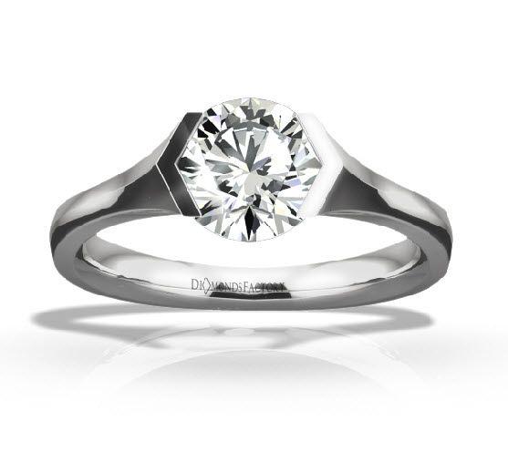 Tension Set Round Brilliant Engagement Ring