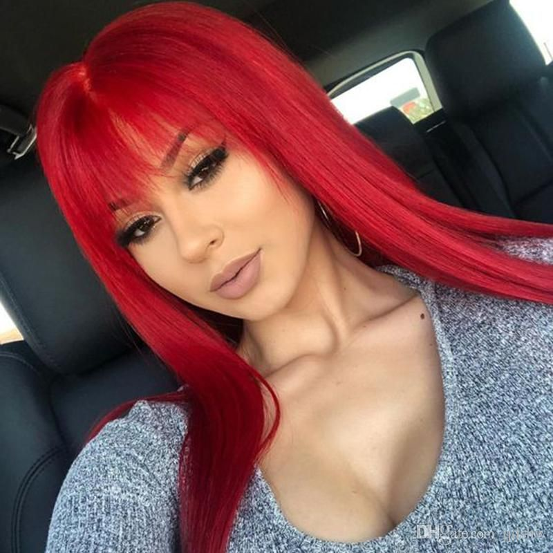 Red Human Hair Full Lace Wig With Bangs For