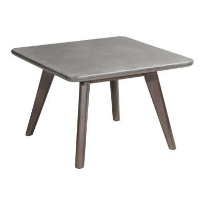 Zuo Daughter Wood Outdoor Patio Coffee Table In Cement And Natural