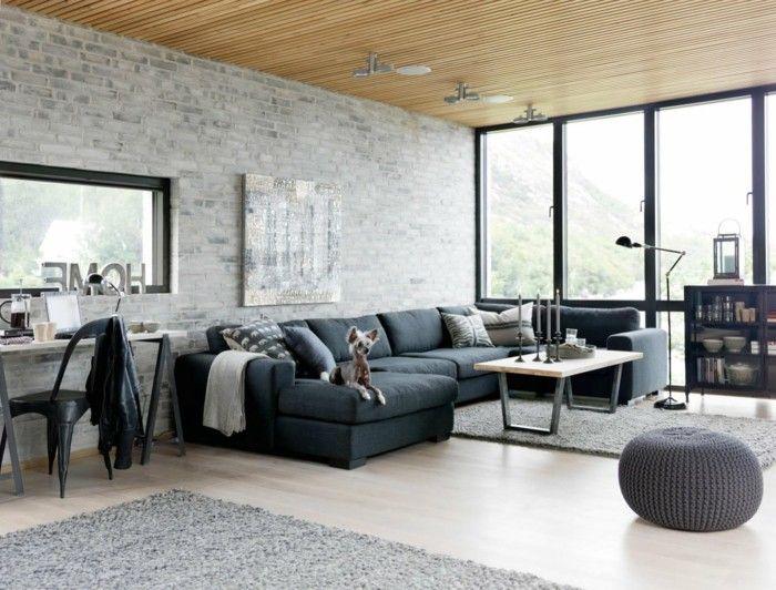 Trends furniture industrial living room brick wall pallet - moderne wandgestaltung fur wohnzimmer