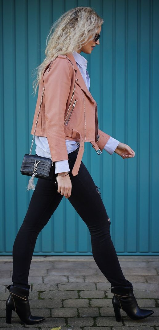 Dusty Pink Leather Crop Moto Jacket | Liked by - http://www.chinasalessite.com – Wholesale Women's Clothes,Wholesale Women's Wear & Accessories