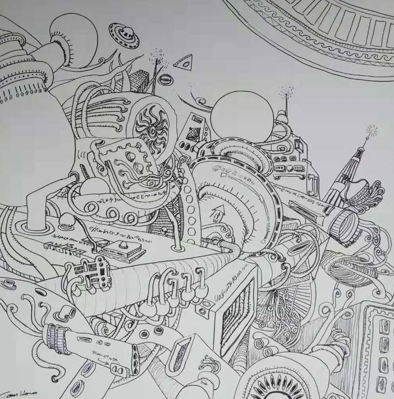 Original Science Technology Drawing By James Hou Surrealism Art On Canvas Alien S World In Deep Space Space Drawings Drawings Surreal Art