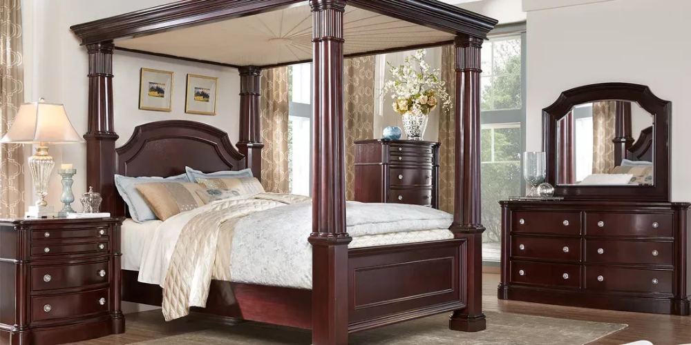 Dumont Cherry 6 Pc King Canopy Bedroom Rooms To Go Canopy Bedroom Sets Bedroom Sets Canopy Bedroom