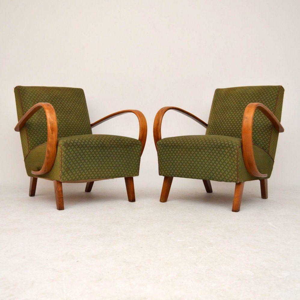 Art Deco Living Room Set: Jindřich Halabala Art Deco Chairs