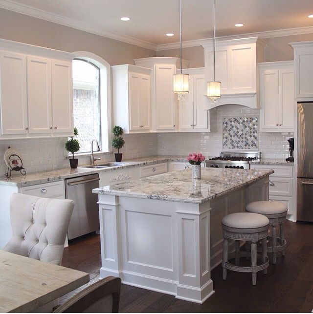 perfect white kitchen. Marble and backsplash is perfect  Kitchen Pinterest Marbles