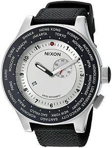 c8c3ca123 Nixon Men's A3211433 Passport 49mm GMT Silver Dial Black Nylon A321-1433-00